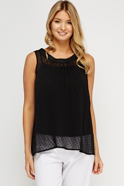 Mesh Dotted Sleeveless Top