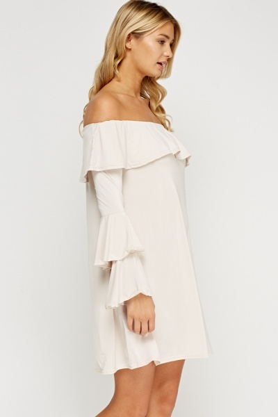 Off Shoulder Flared Ivory Dress