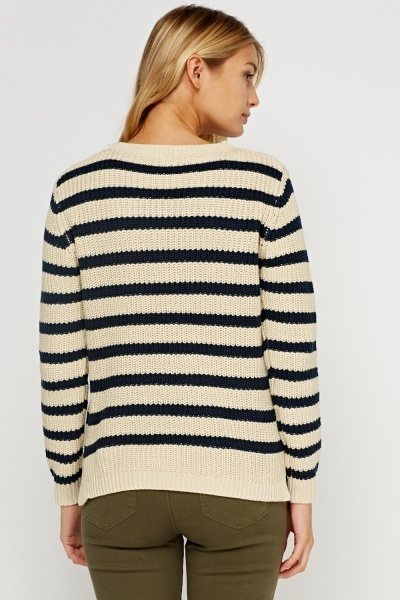 Ribbed Stripe Knitted Jumper