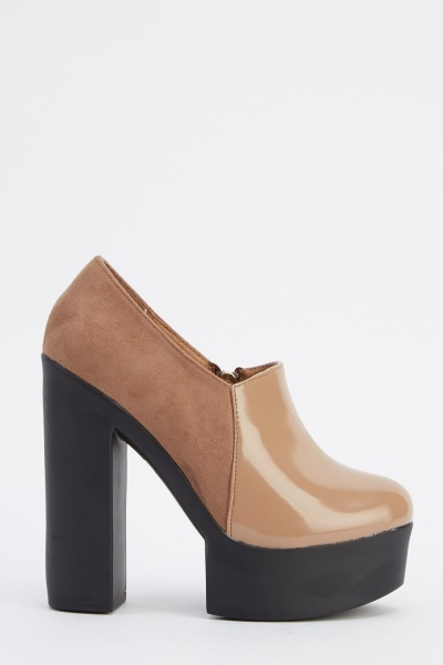 Contrast Chunky Heeled Boots