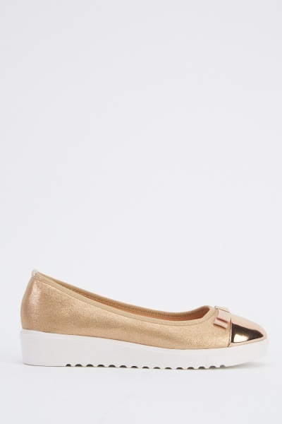 Metallic Bow Front Contrast Plimsolls Shoes