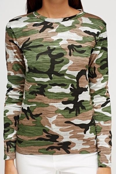 Camouflage Print Long Sleeve Top