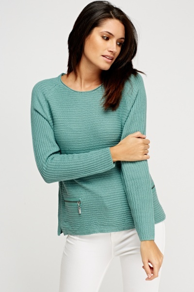 Zip Detail Front Knitted Jumper