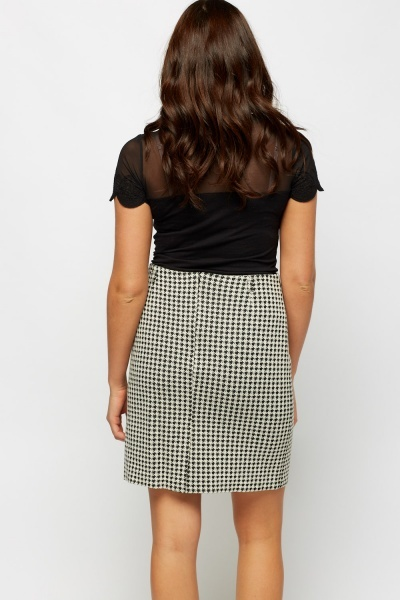 Houndstooth High Waist Skirt