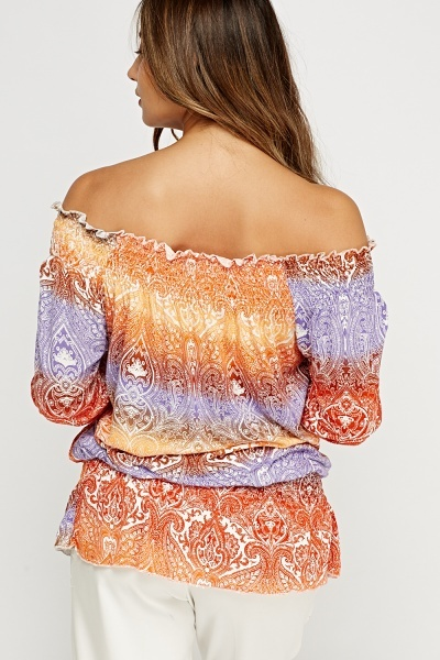 Paisley Print Off Shoulder Top