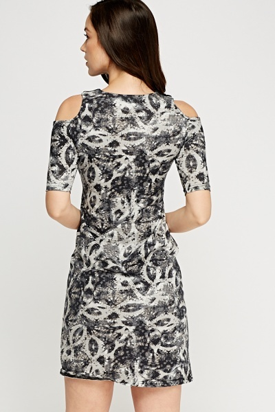 Cut Out Shoulder Collar Dress