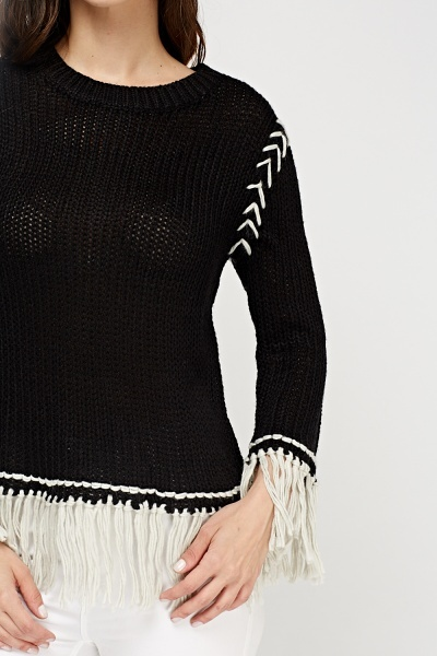 Fringed Trim Knitted Jumper