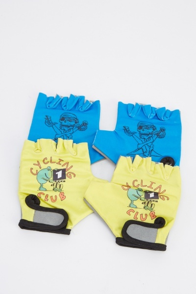 Pack Of 2 Childrens Cycling Gloves
