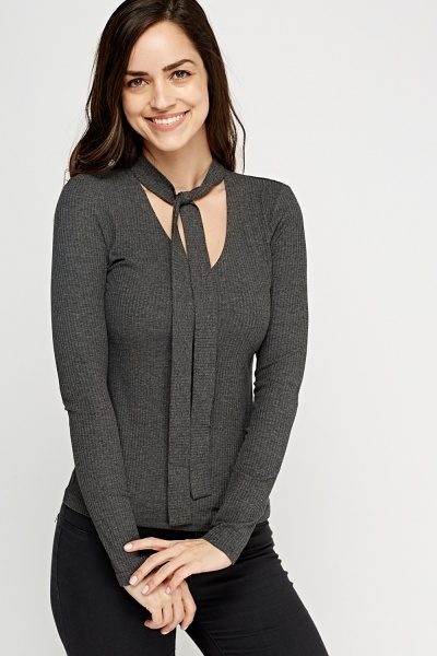 Tie Up Neck Ribbed Top