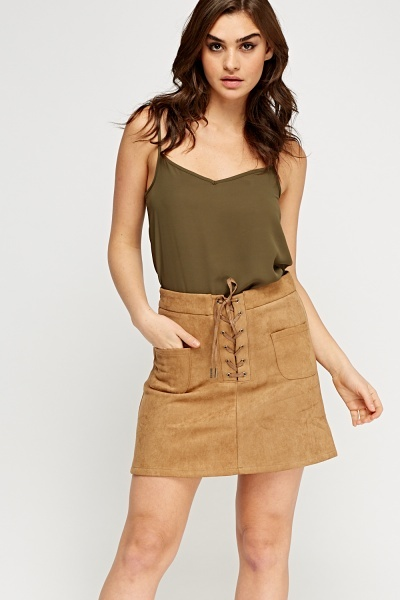 Lace Up Suedette Skirt