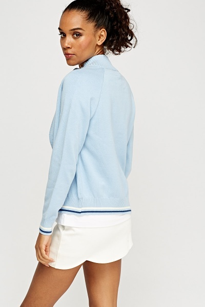 Lacoste Ribbed High Neck Zip Front Cardigan