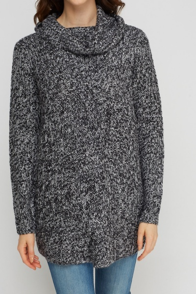 Cable Knit Speckled Turtle Neck Jumper