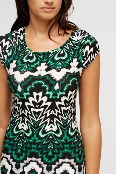 Cut Out Back Printed Midi Dress