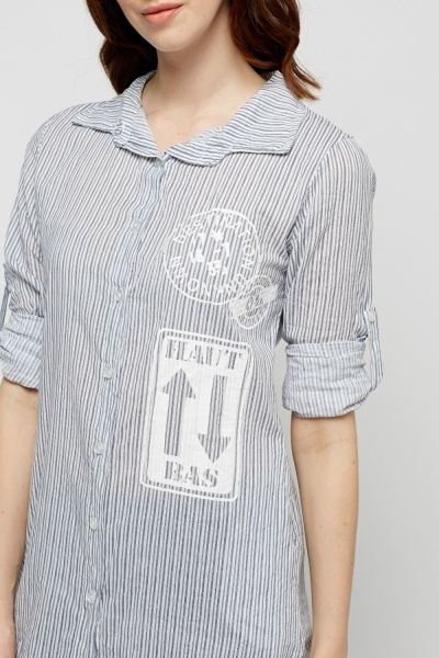 Dip Hem Striped Slogan Shirt