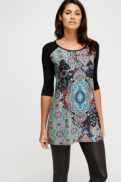 Paisley Print Contrast Tunic Top
