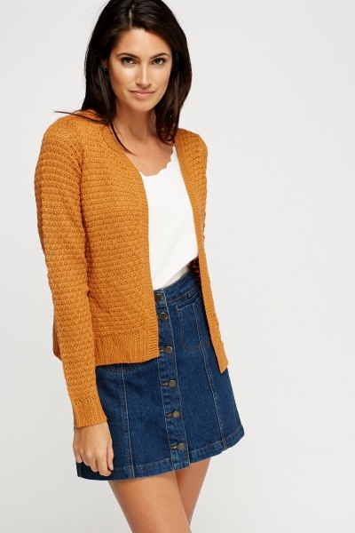 Ribbed Trim Open Front Knitted Cardigan