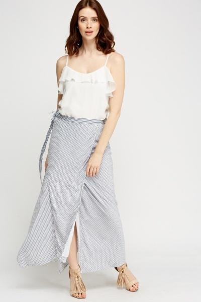Wrap Striped Asymmetric Midi Skirt White Navy Just 163 5