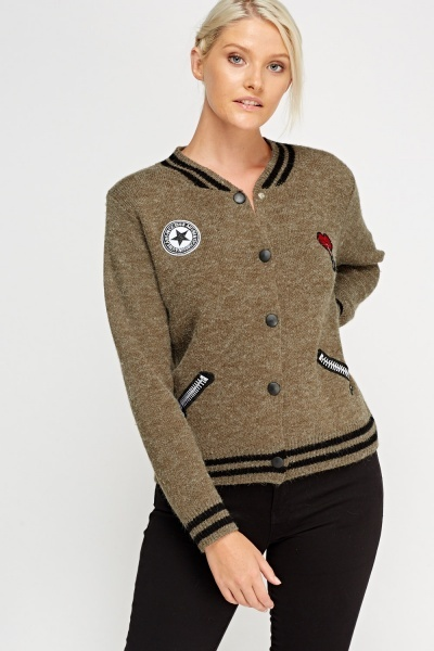 Applique Knitted Button Up Jumper