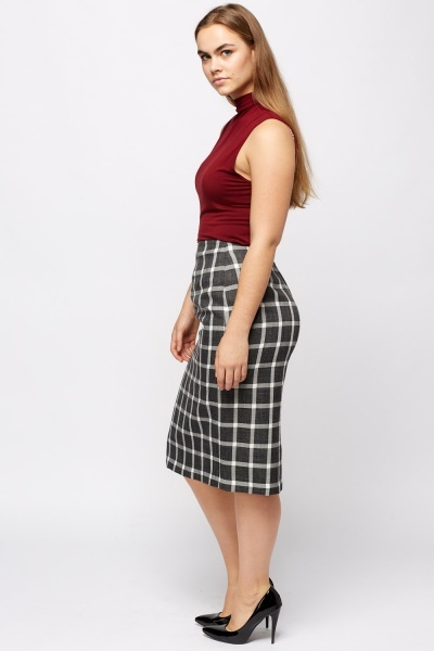 Checked Formal Pencil Skirt