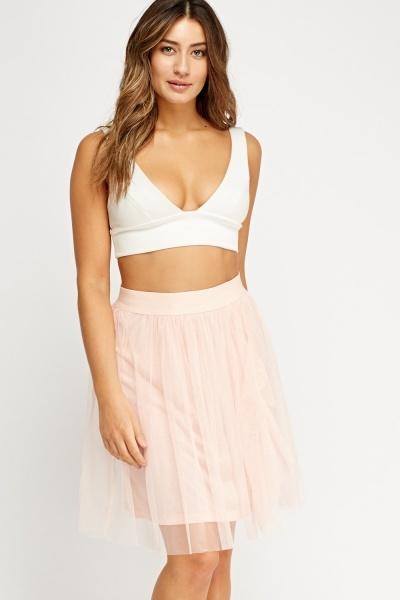 Frilled Mesh Overlay Skirt