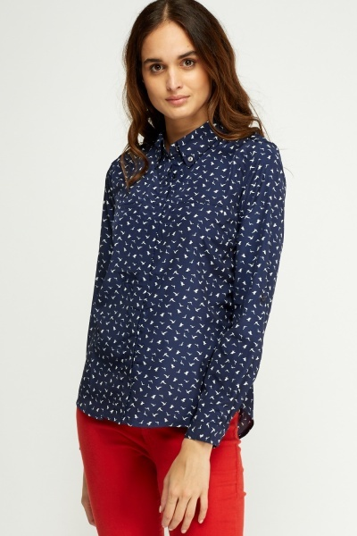 Sateen Bird Printed Blouse