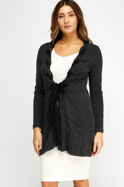 Speckle Tie Up Longline Cardigan