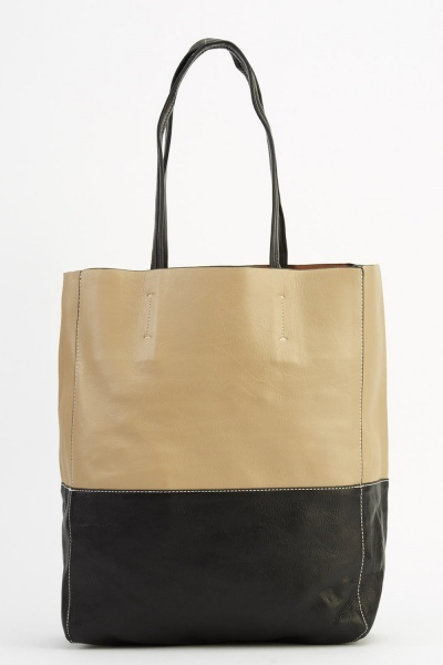 2 In 1 Large Tote Stitched Trim Bag