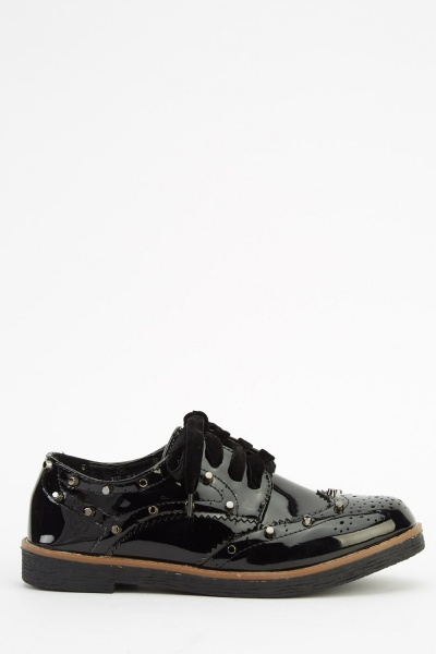 Lace Up Studded Brogue Shoes