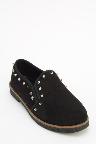 Studded Trim Flat Shoes