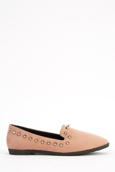 Suedette Studded Spike Trim Shoes