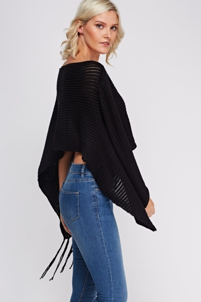 Fringed Knitted Poncho