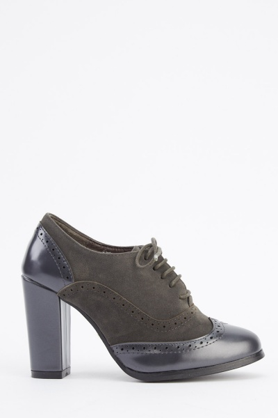 Block Heel Contrast Brogue Shoes