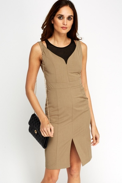 Contrast Insert Shift Dress