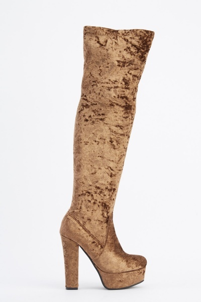 Velveteen Knee High Heeled Boots
