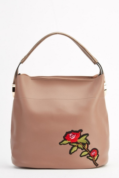 Anna Smith London Embroidered Rose Faux Leather Handbag