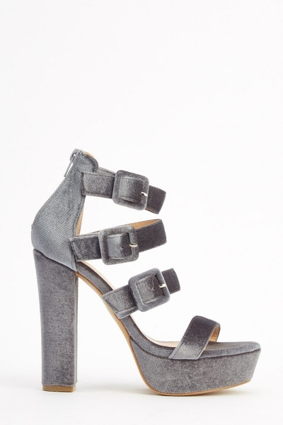 Velveteen Platformed Heeled Sandals