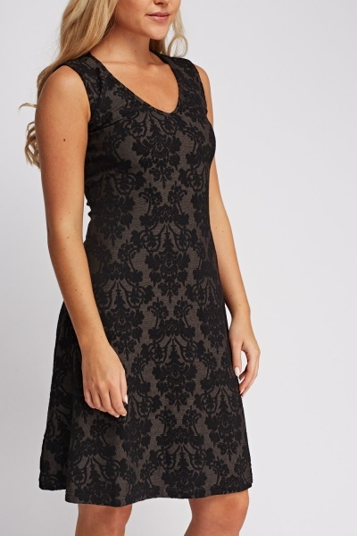 Embossed Jacquard Shift Dress