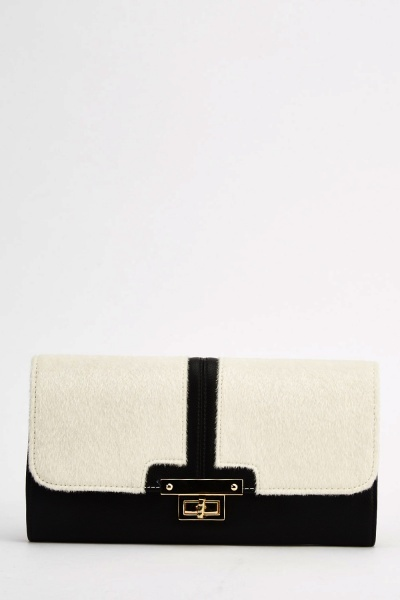 Contrast Faux Fur Clutch Bag