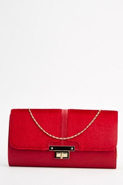 Contrast Faux Fur Clutch Bag