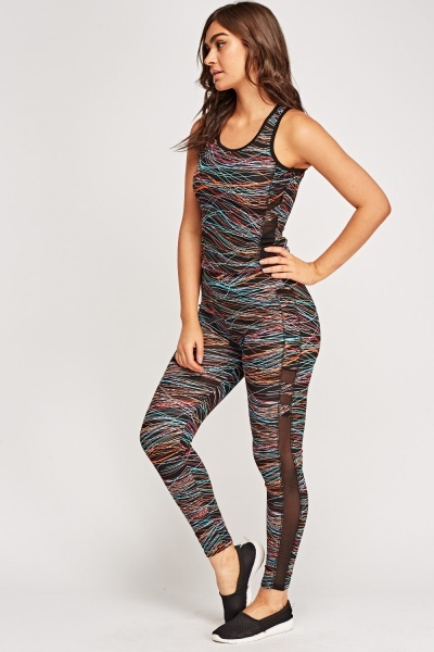 Multi Colour Print Sports Top And Leggings Set