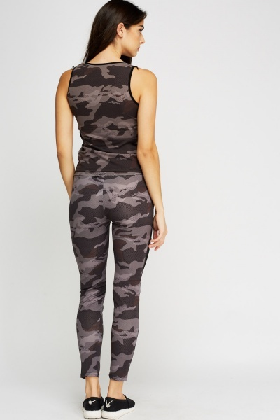 Camouflage Contrast Sports Top And Leggings Set