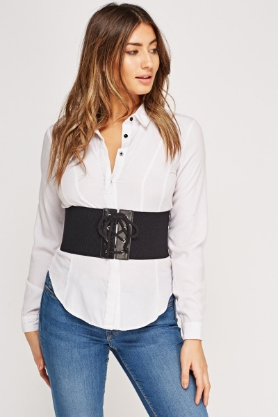 Ribbed Lace Up Front Corset Belt