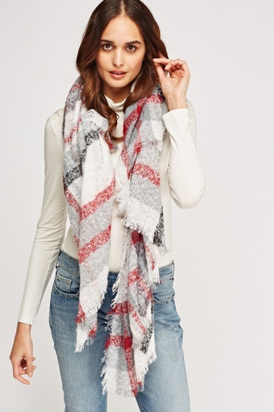 Checked Fringed Hem Scarf