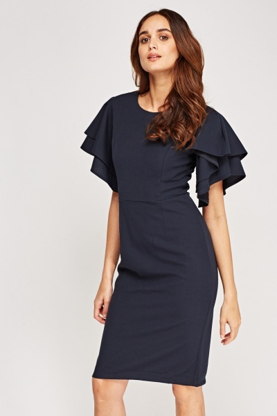 Layered Flared Sleeve Midi Dress