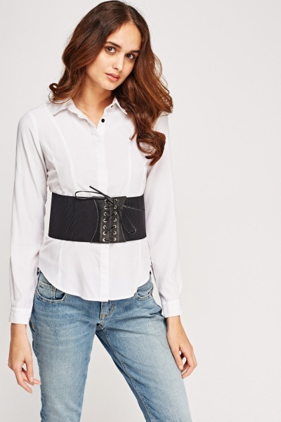 Ribbed Contrast Lace Up Corset Belt