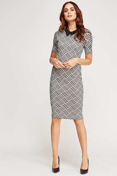 Textured Collard Midi Dress