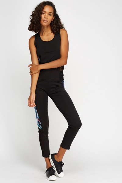Printed Contrast Insert Sports Top And Leggings Set