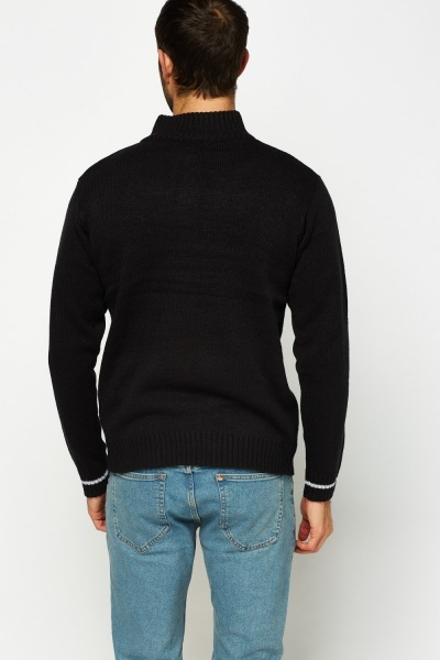 Zip Up Neck Knitted Jumper