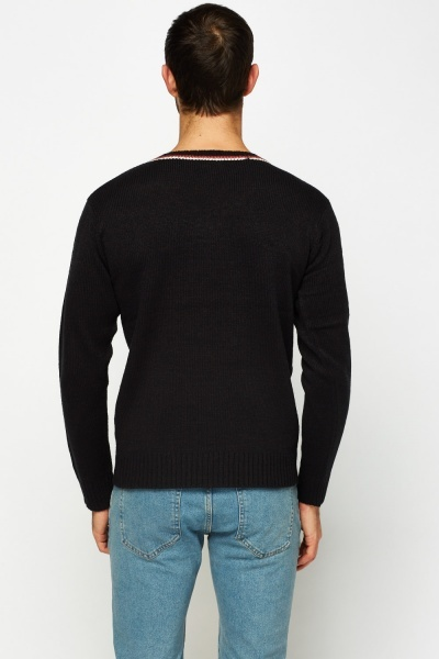 Contrast V-Neck Knitted Pullover