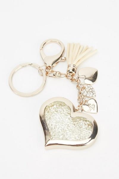 Diamante Encrusted Pendant Heart Keyring